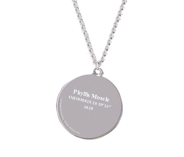 Elegant silver necklace with a an engraved sterling silver circular pendant. Includes the star name and location.