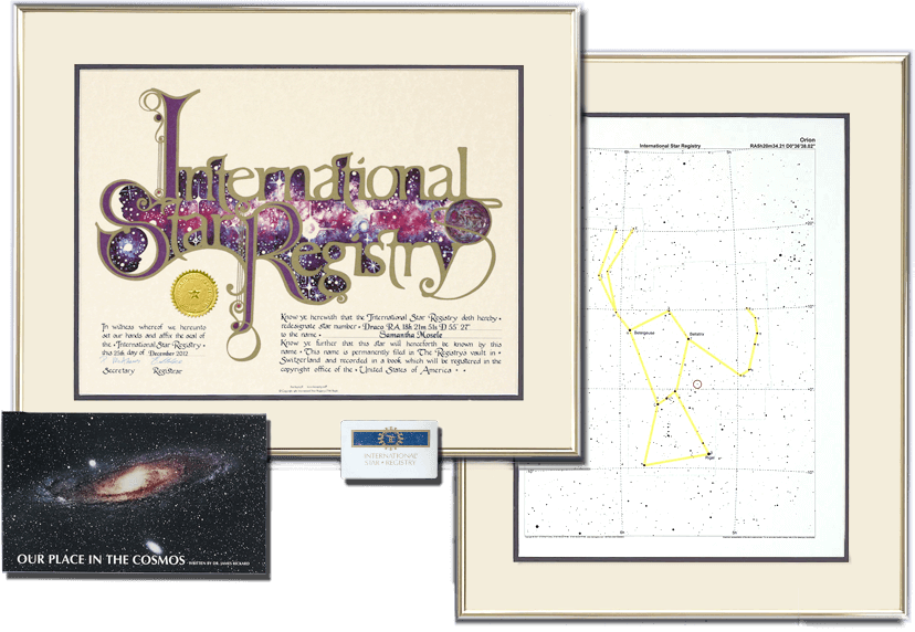 The Gold Ultimate Star Kit is a favorite of customers naming stars for friends and family. The  certificate and sky chart arrive framed.