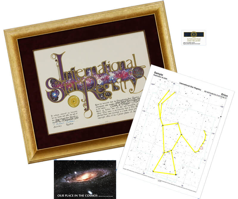 This regal gold frame is hand crafted. Your International Star Registry name a star certificate arrives ready to display.