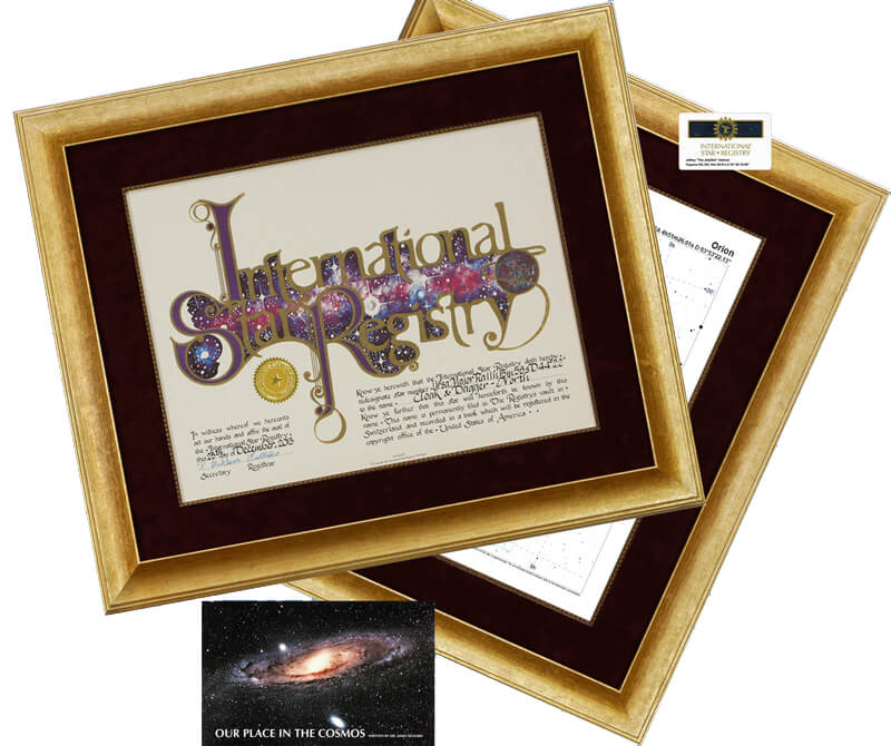 An exquisite framing option. Name a star and receive the Star Registry certificate in this elegant frame with a matching framed star chart.