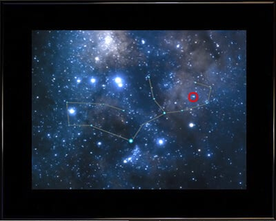 The Photographic Sky Image with the location of the star you name framed in black with rich black suede matting.
