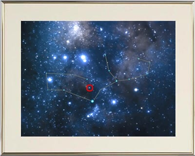 The star's location is indicated on this beautiful photographic sky image. It is beautifully framed in gold and double matted.