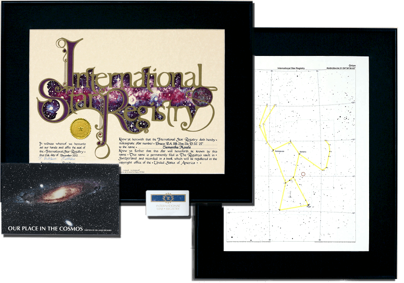 This star naming package is a favorite for weddings, anniversaries, and memorials. The Star Registry certificate and star chart arrive framed.