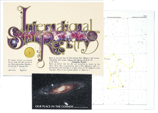 Buy a star kit and receive the iconic International Star Registry certificate, a sky chart, and exclusive booklet for your recipient