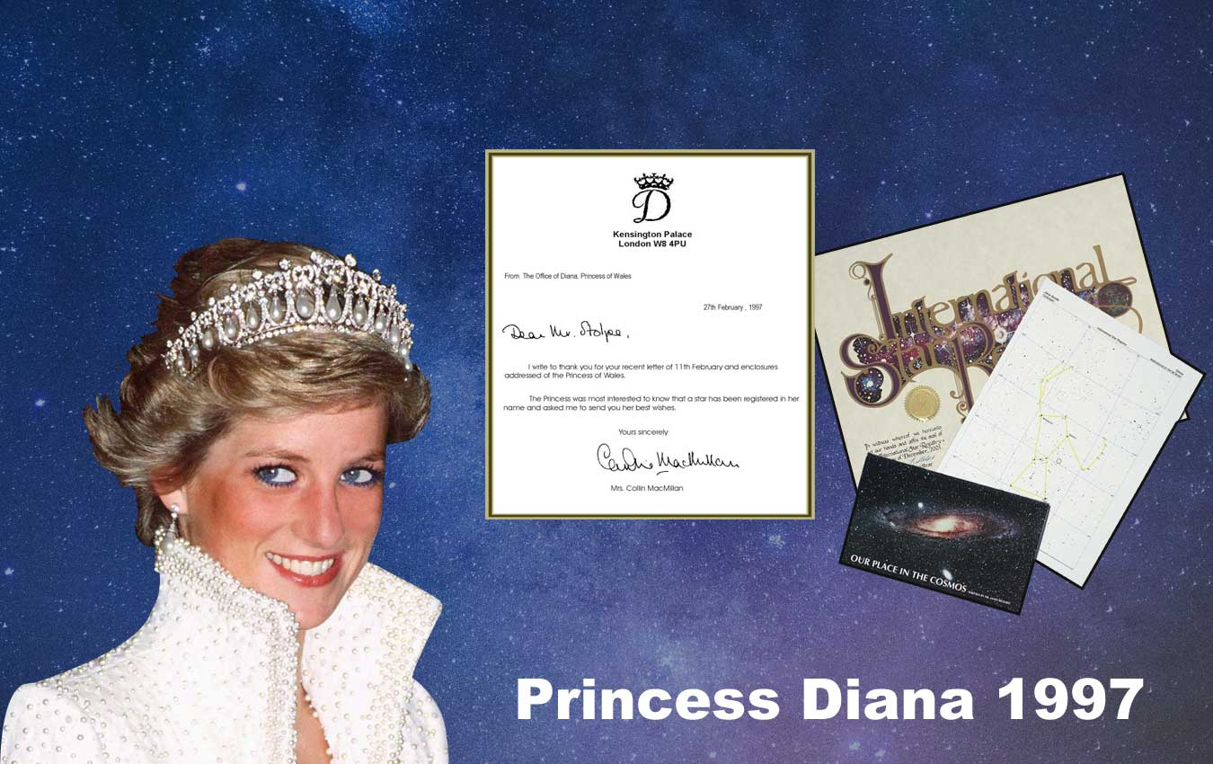 Stars are named for Diana, Princess of Wales as a wedding gift, birthday gift, and later as memorial gifts. Princess Diana thank you card is shown